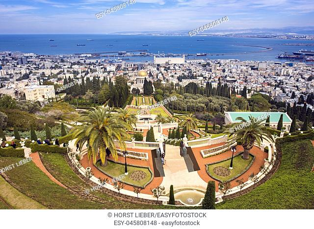 Bahai Gardens at Mount Carmel in Haifa, Israel, Middle East