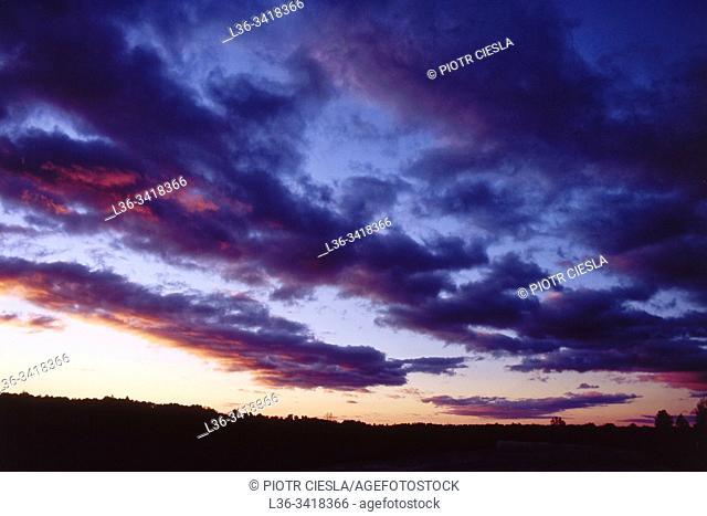 Poland. Evening sky