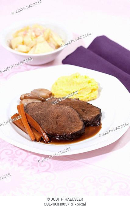 Plate of beef with potatoes