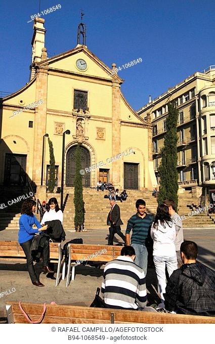 Church of the Josepets (1687) by architect Josep de la Concepcio in Plaça de Lesseps square, Barcelona. Catalonia, Spain