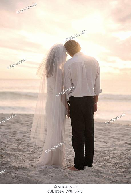 Bride and groom on beach, holding hands, rear view