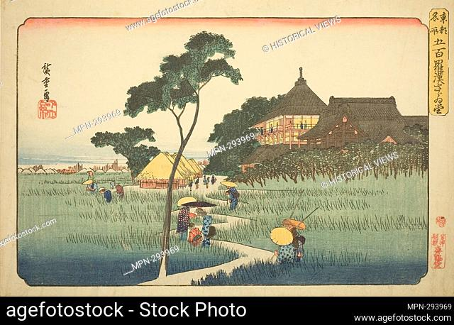 Author: Utagawa Hiroshige. Sazai Hall at the Temple of the Five Hundred Arhats (Gohyaku rakan Sazaido), from the series 'Famous Places in the Eastern Capital...