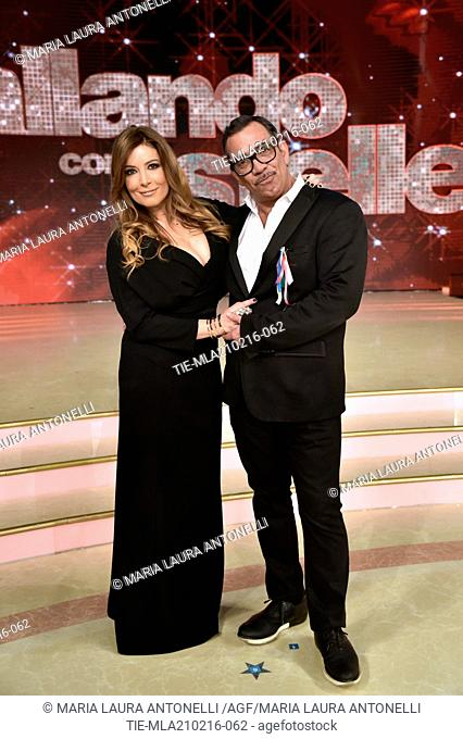The commentator Selvaggia Lucarelli with stylist Guillermo Mariotto during the talent Show ' Dancing with the stars ', Rome, ITALY-21-02-2016