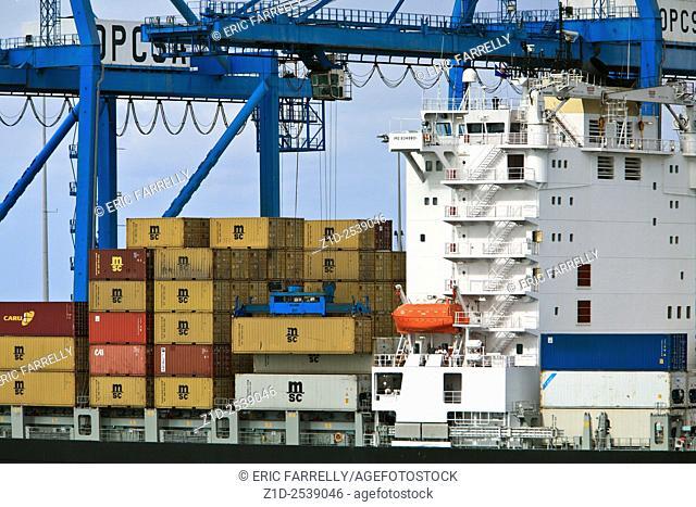container ship cargo operations Las Palmas gran canary
