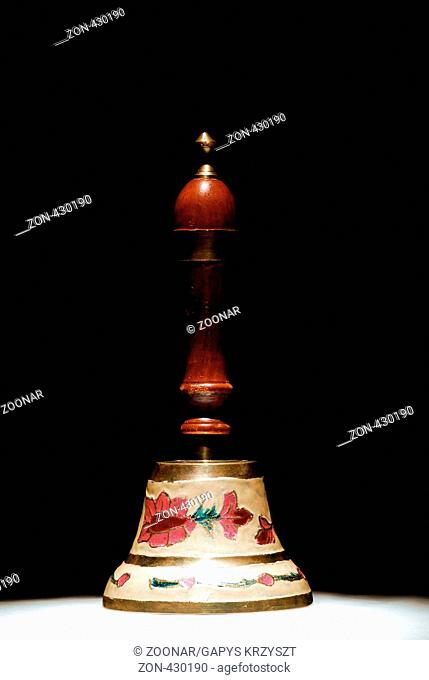 Antique, Bell, Black Background, Brown, Close-Up, Close Up, Closeup, Color, Color Image, Colored, Colorful, Colour, Colour Image, Coloured, Colourful