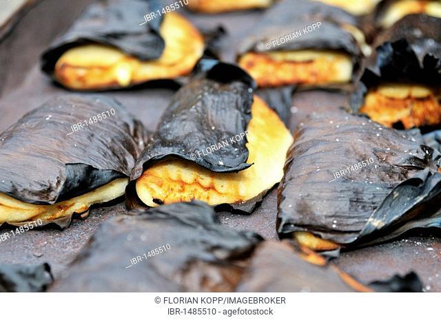 Traditional dumplings, empanadas, wrapped in banana leaves, San Ignacio, Chiquitania, Santa Cruz Department, Bolivia, South America