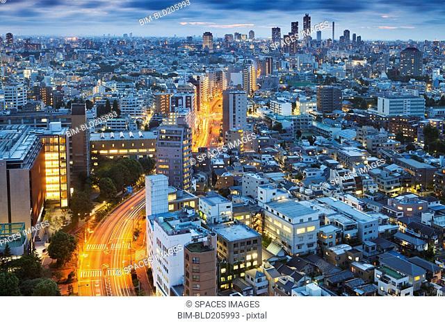 Cityscape at night, Tokyo, Japan