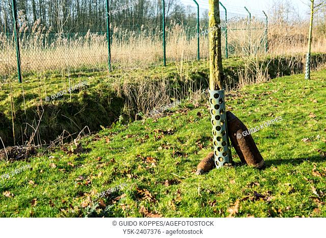 Poelkapelle, Belgium. Ancient and still live World War 1 munition and explosives, found in a former battle field and ready to be recovered for demolition