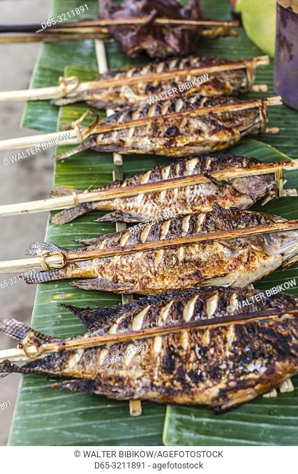 Laos, Luang Prabang, morning market, grilled fish
