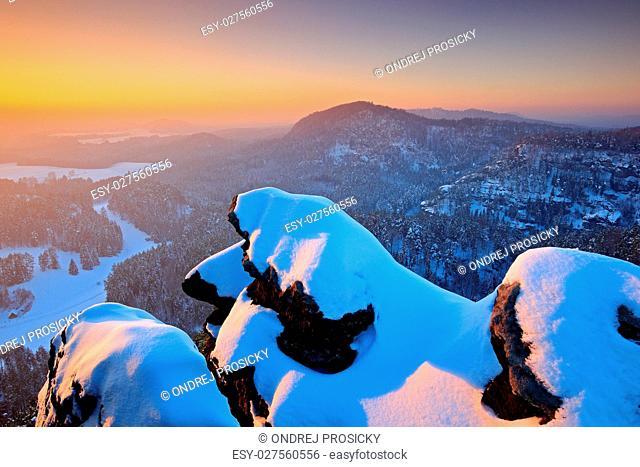 Czech Republc, Beautiful snowy evening in the rocks