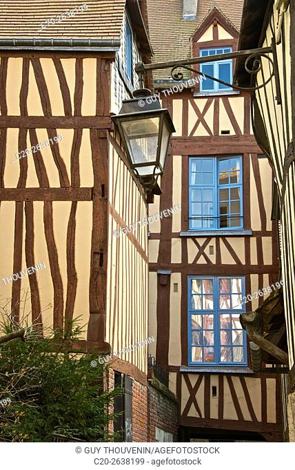 Half timbered colored medieval facades, old town, Rouen, 76, Normandy, France