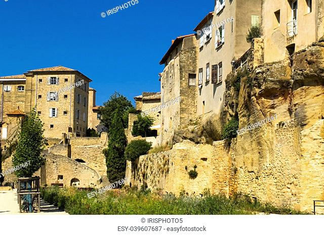 old stone houses built on the rock, region of Luberon, Provence, France