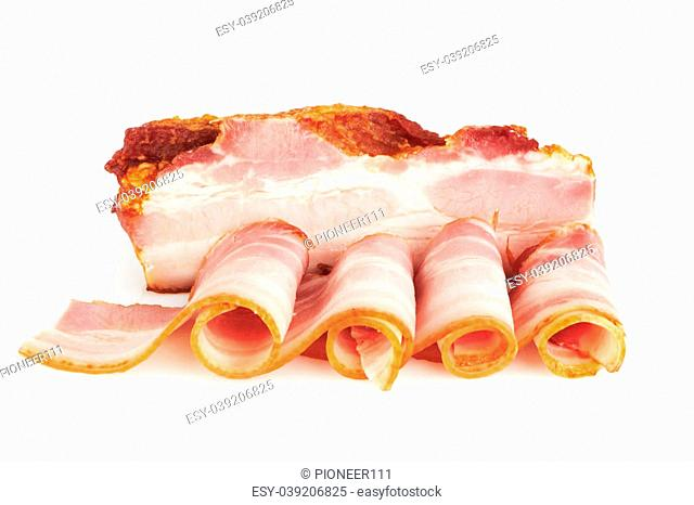 Smoked bacon with tasty sliced pork bacon isolated on white background