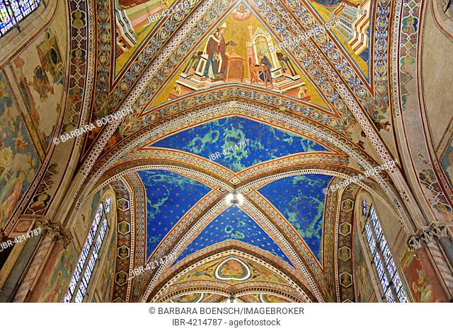 Ceiling vaults decorated with frescoes in the upper church of San Francesco Basilica, Assisi, Province of Perugia, Umbria, Italy