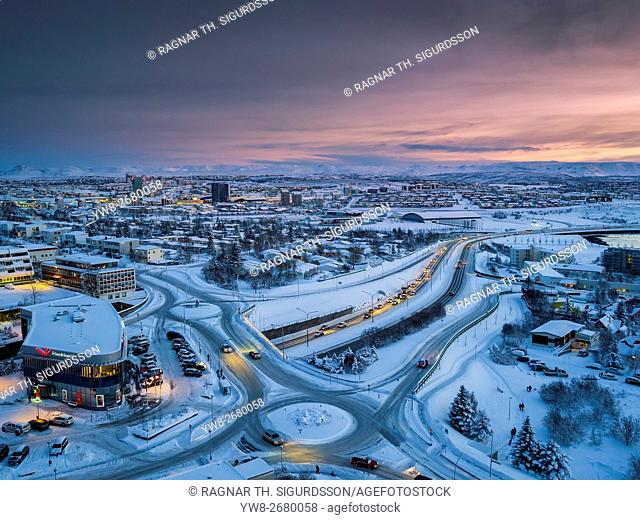 Snowy view of a suburb of Reykjvik, Kopavogur, Iceland. This image is shot using a drone