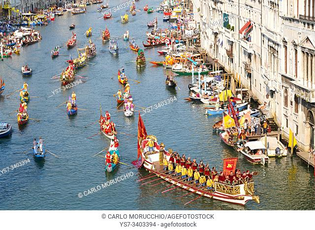 The boats of the historical procession for the historical regatta on the Grand canal of Venice, Italy, Europe