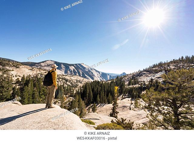 USA, California, Yosemite National Park, hiker standing on viewpoint