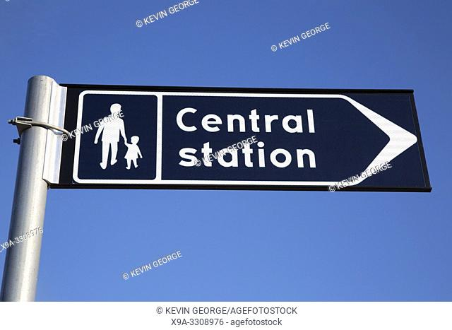 Central Train Station Sign on Blue Sky Background