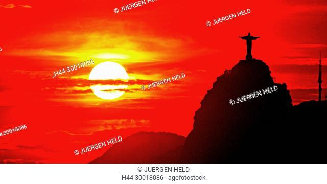 Brasil, Rio de Janeiro, Cristo Redentor, Corcovado, Sunset