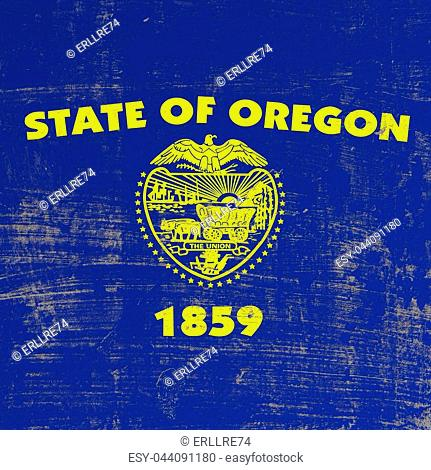 3d rendering of Oregon flag in a scratched surface