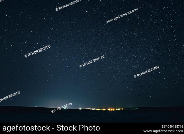 Landscape With Natural Night Sky Stars Background. Starry Sky Over Town