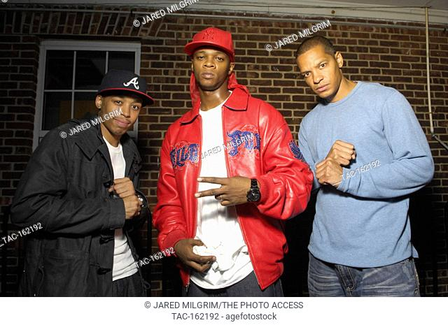 (L-R) Rappers Cory Gunz, Papoose and Peter Gunz backstage portrait at the This is 50 Festival at Governor's Island on October 3, 2009 in New York