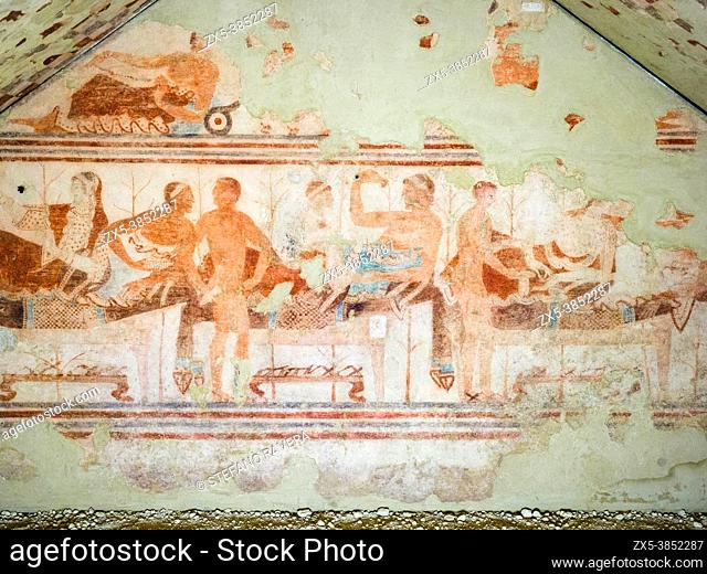 Fresco painted wall in Tomba della nave (ship tomb) 5th century BC - Tarquinia National Archaeological Museum, Italy