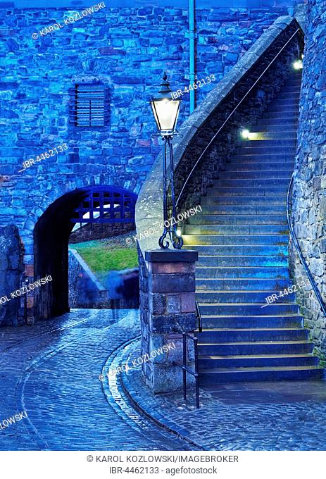 Edinburgh Castle, twilight, Edinburgh, Lothian, Scotland, United Kingdom