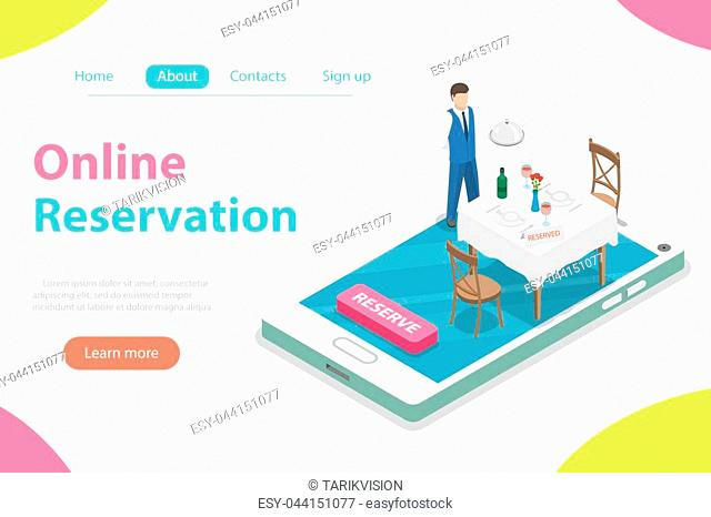 Flat isometric vector concept of table online reservation, mobile booking