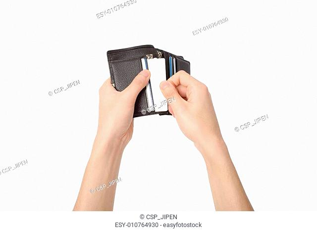 taking a card out of a wallet