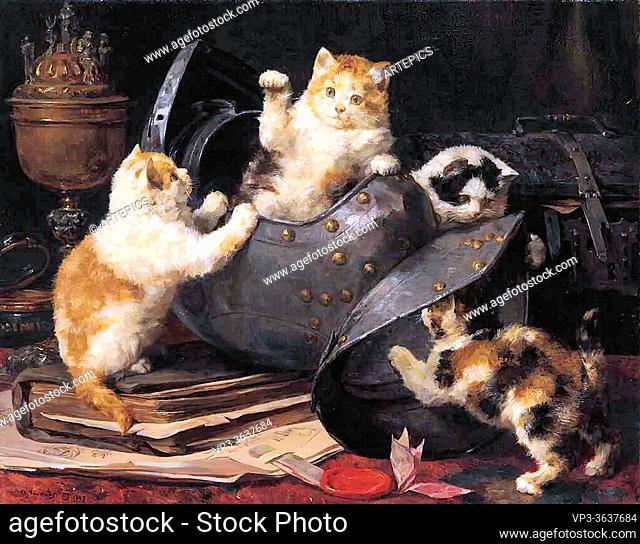 Eycken II Charles Van Den - Kittens at Play 1 - Belgian School - 19th Century