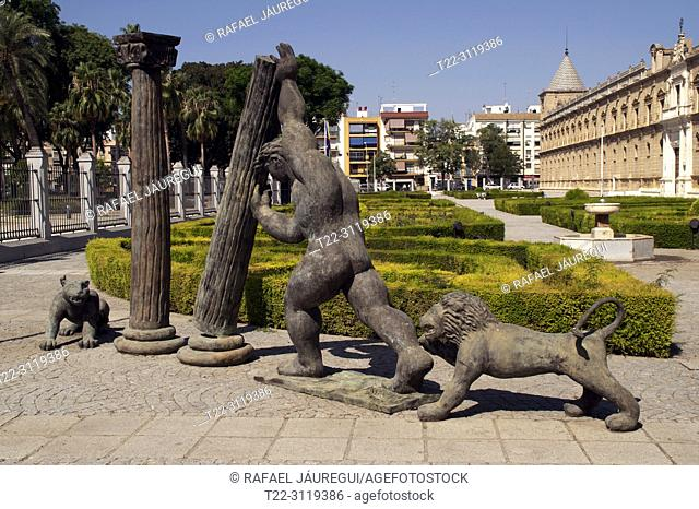 Sevilla (Spain). Tribute to the Towers of Hercules next to the Parliament of Andalusia in the city of Seville