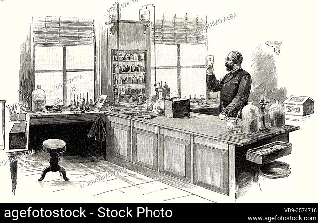 Robert Koch (1843- 1910) in his laboratory. German physician and pioneering microbiologist, famous for discovering the tuberculosis bacillus in 1882