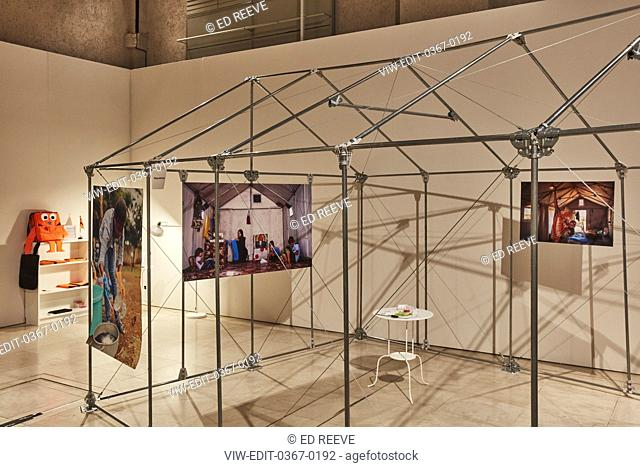 Installation by Nairobi Design Week (various designers) for Refugees Pavilion. London Design Biennale 2018, London, United Kingdom