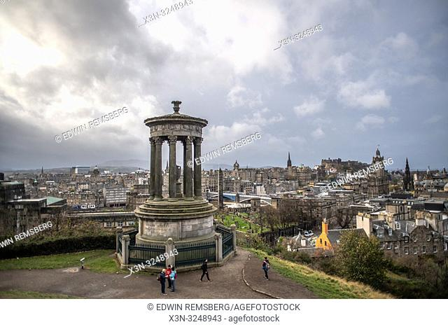 View from Calton Hill overlooking the city of Edinburgh, Scotland's capital, with Dugald Stewart Monument, Scotland