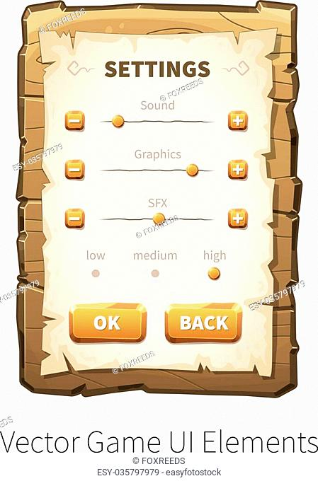 Game settings screen. Options and preferences. Vector graphical user interface UI GUI for 2d video games. Wooden menu, panels and buttons for menu