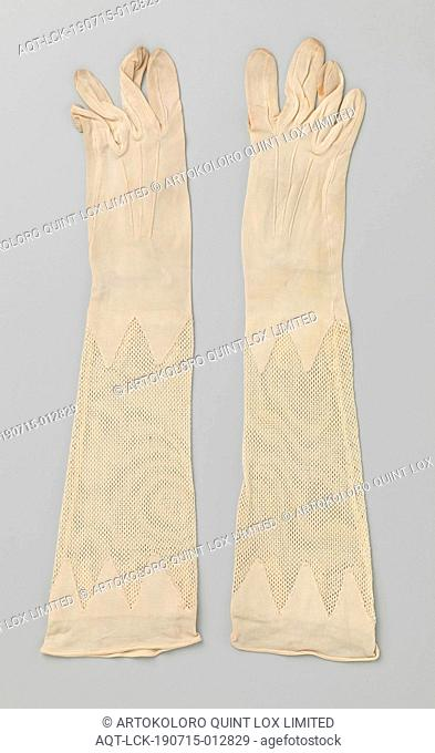Pair of gloves with encrusted crochet design Cream-rayon glove, Cream-rayon right glove. Three radiating cords on the back and with machine crochet