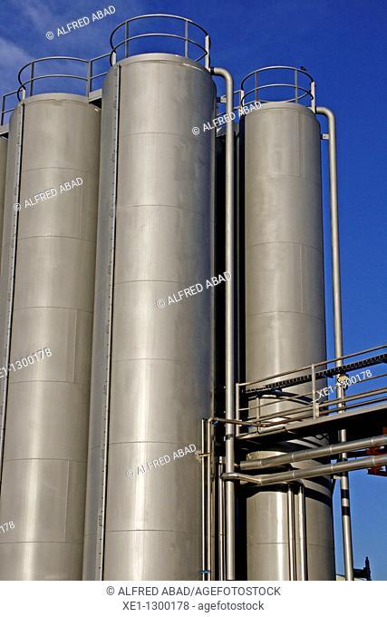 Storage tanks, industry, Gava, Barcelona province, Spain