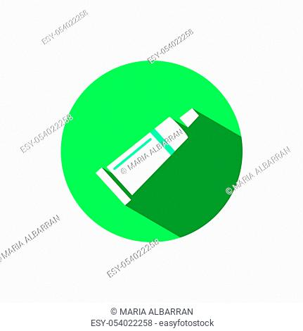 Cream tube icon with shadow on a green circle. Flat color vector pharmacy illustration