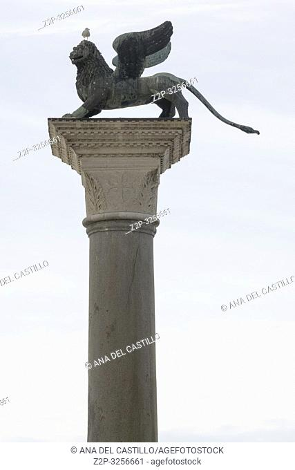 Venice, Veneto, Italy: The famous ancient winged lion sculpture