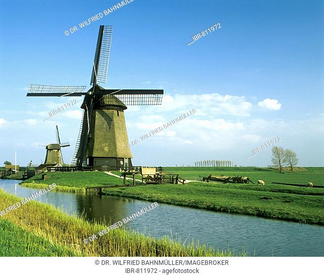 Windmill near Schermerhorn, east of Alkmar, Holland, Netherlands, Europe