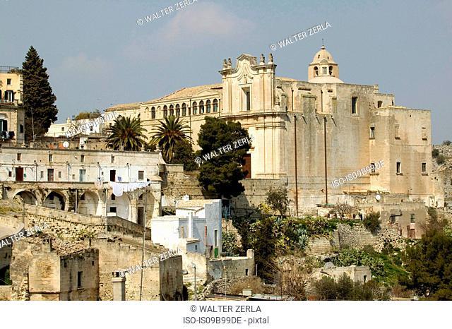 Elevated view of church, Matera, Basilicata, Italy