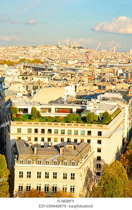 overview of Paris with Mont Matre, France