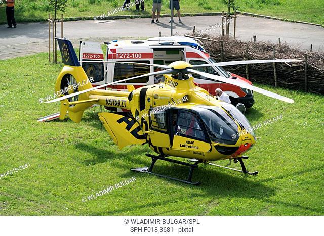 Air ambulance (Adac) helicopter and ambulance, Gera, Germany, May 2016