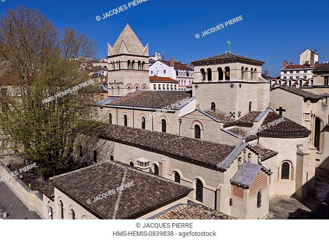 France, Rhone, Lyon, historical site listed as World Heritage by UNESCO, St Martin d'Ainay Basilica and the school Lucie Aubrac with a view of the Notre Dame de...