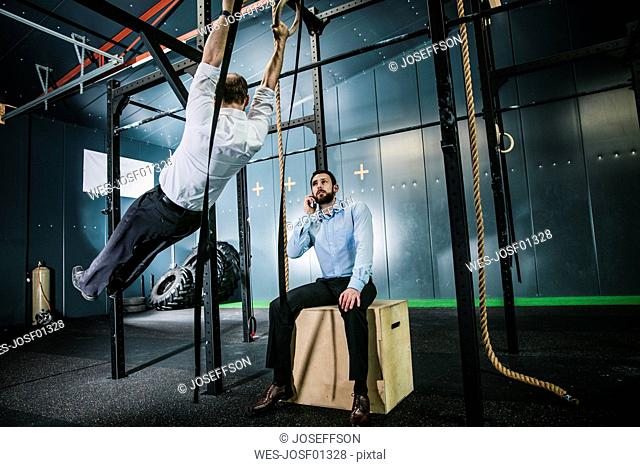 Busiiness people training in gym