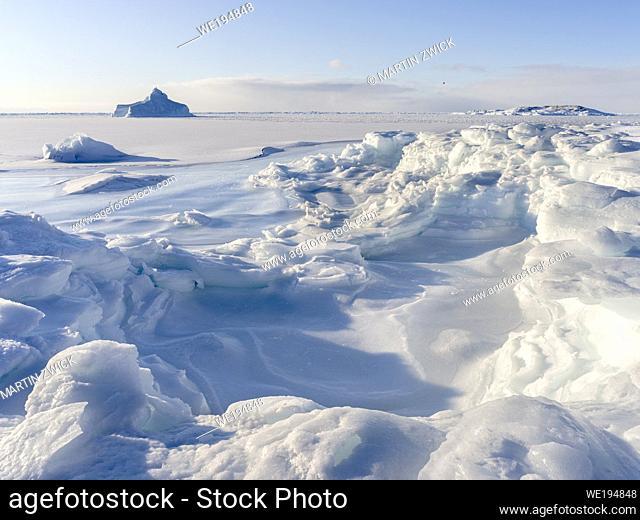 Shore of frozen Disko Bay. Disko Bay during winter, West Greenland. America, North America, Greenland, Denmark