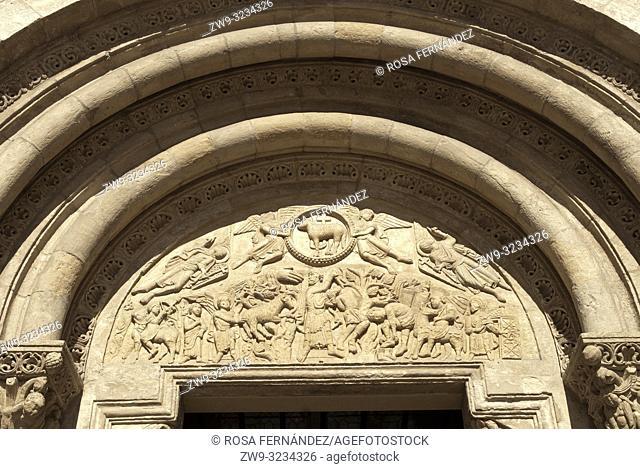 Tympanum of the Collegiate church of San Isidoro, city of León, province of León, Castilla y León Region, Spain, Europe
