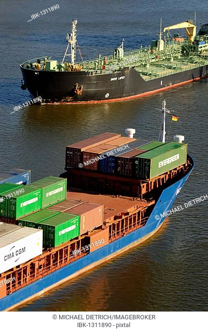 Container ship and tanker crossing on Kiel Canal, Kiel, Schleswig-Holstein, Germany, Europe