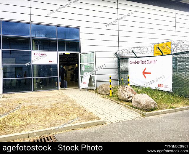 Berlin, Germany. Corona / Covid Test Centre at Schonefeld Airport, where travellers can have ther health checked vor the virus infection